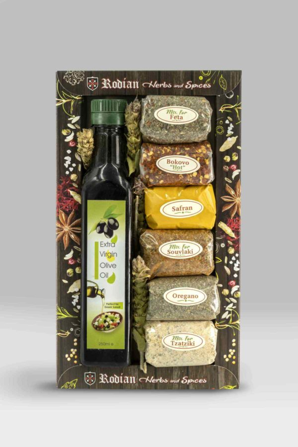 Greek Herbs & Spices - Set of 6 + EVOO - Extra virgin Olive Oil 250ml