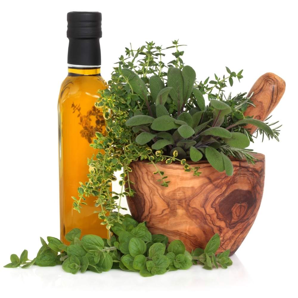 Order now herbs & spices combined with small olive oil bottles from Rhodes island in Greece