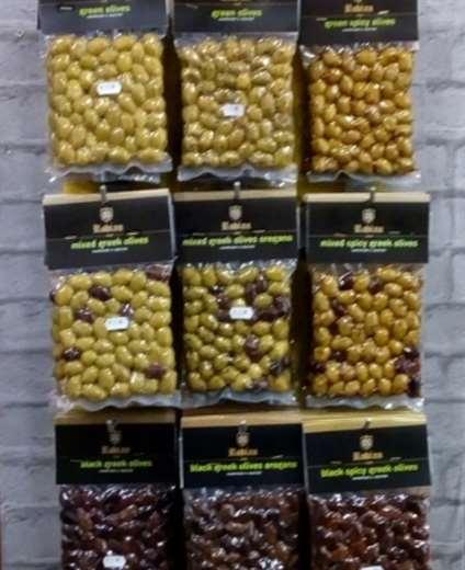 Green - Kalamon Olives in shelf - Rhodes Greece